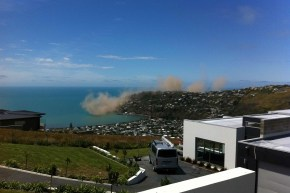 Landslide off the coast of Christchurch, as a result of the 5.8 quake.